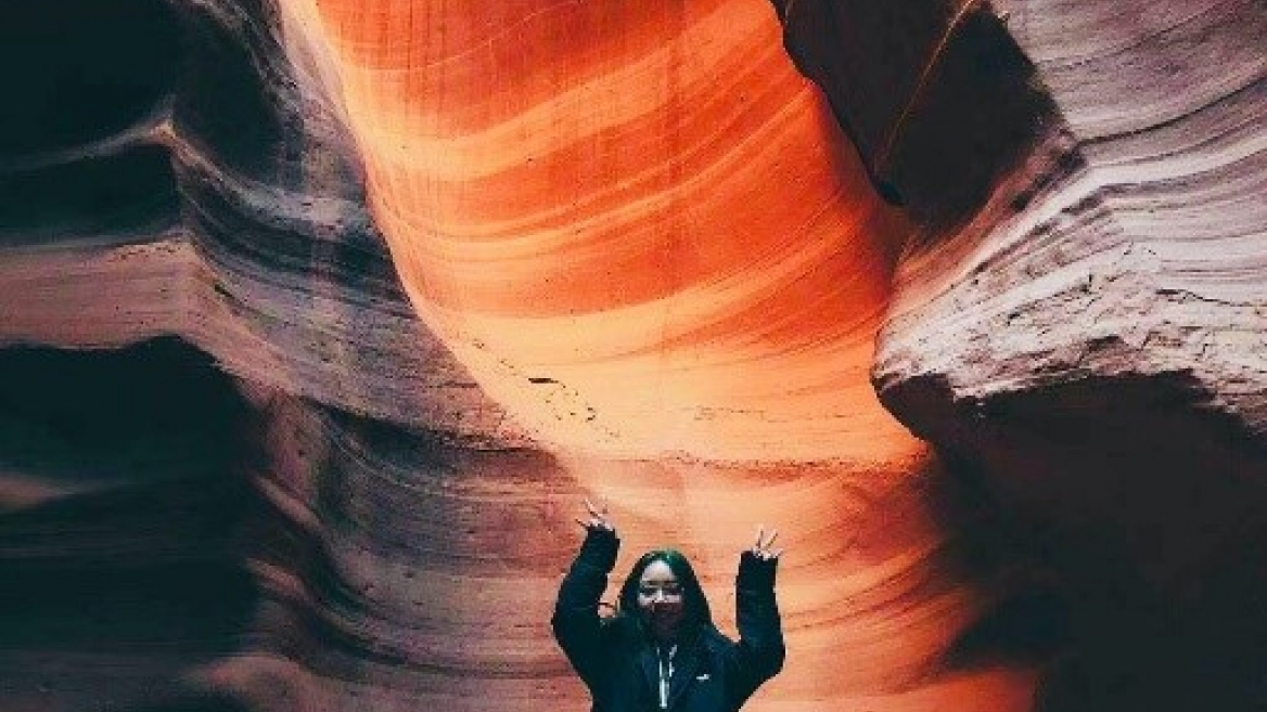 "Jing ""Viona"" Fang visits Antelope Canyon near the Arizona-Utah border with about 20 other ASU students in early November."