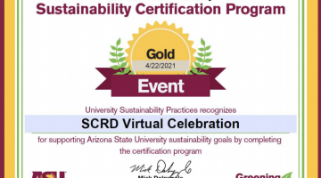 gold certificate, SCRD, virtual, graduation, celebration, sustainability