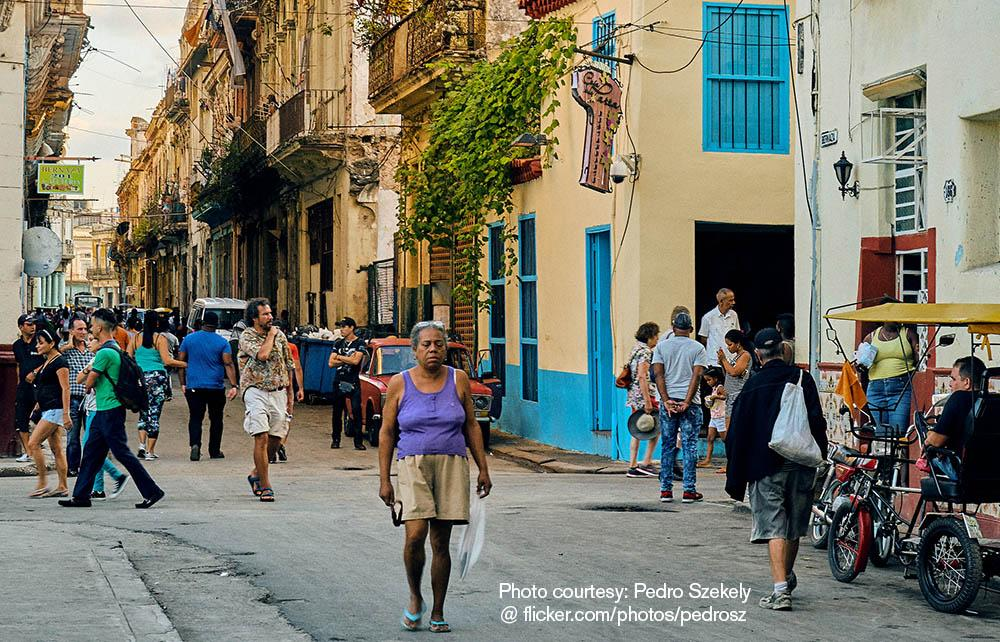 People on a street in Havana, Cuba