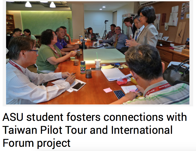 ASU student Chia-Mei Hsia presents ideas to her colleagues in Taiwan.